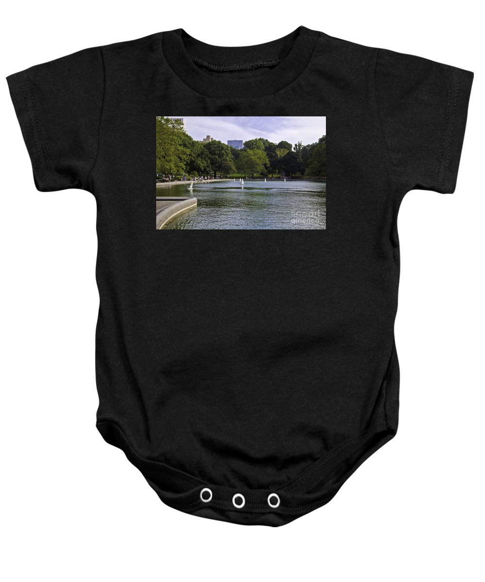 Pond Baby Onesie featuring the photograph Central Park Pond by Madeline Ellis