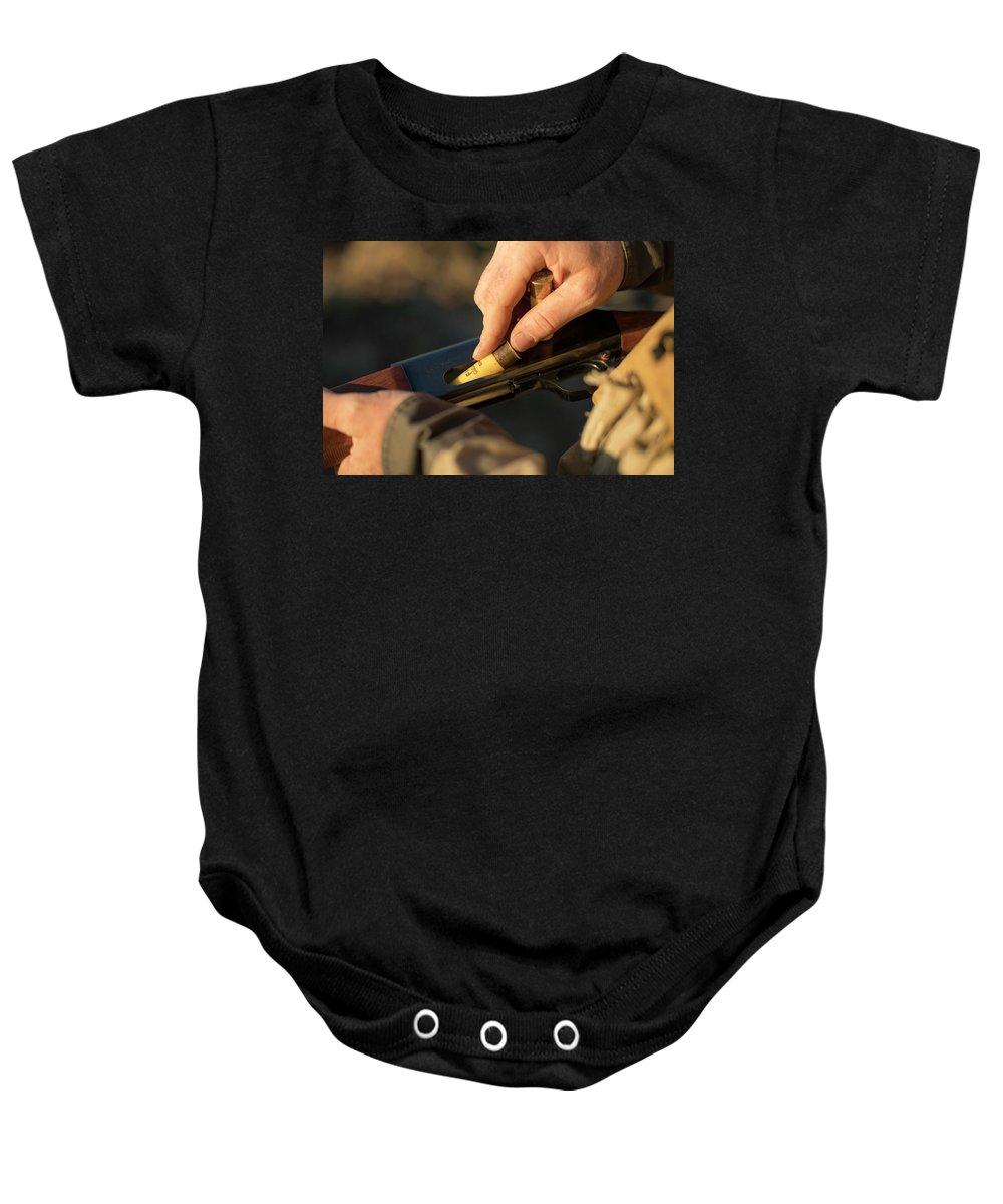 Sagebrush Baby Onesie featuring the photograph Chukar Hunting In Nevada by Michael Okimoto