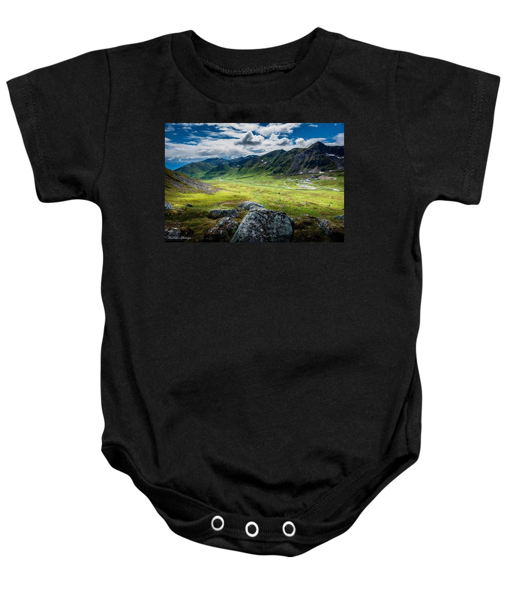 Hatcher's Pass Baby Onesie featuring the photograph Hatcher's Pass by Andrew Matwijec
