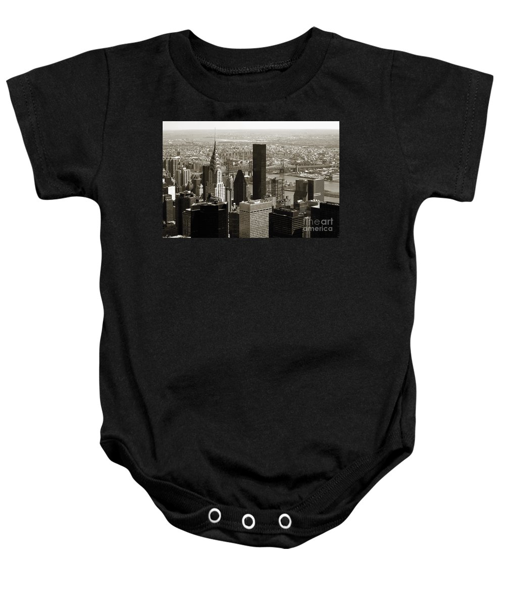 Bw Baby Onesie featuring the photograph Manhattan by RicardMN Photography