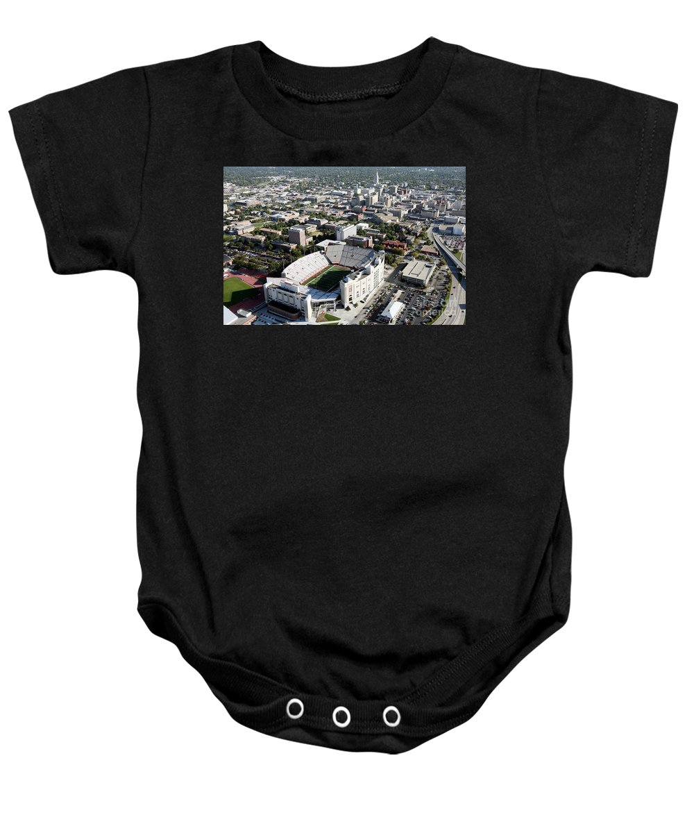 Aerial Baby Onesie featuring the photograph Nebraska Cornhuskers Stadium Lincoln by Bill Cobb