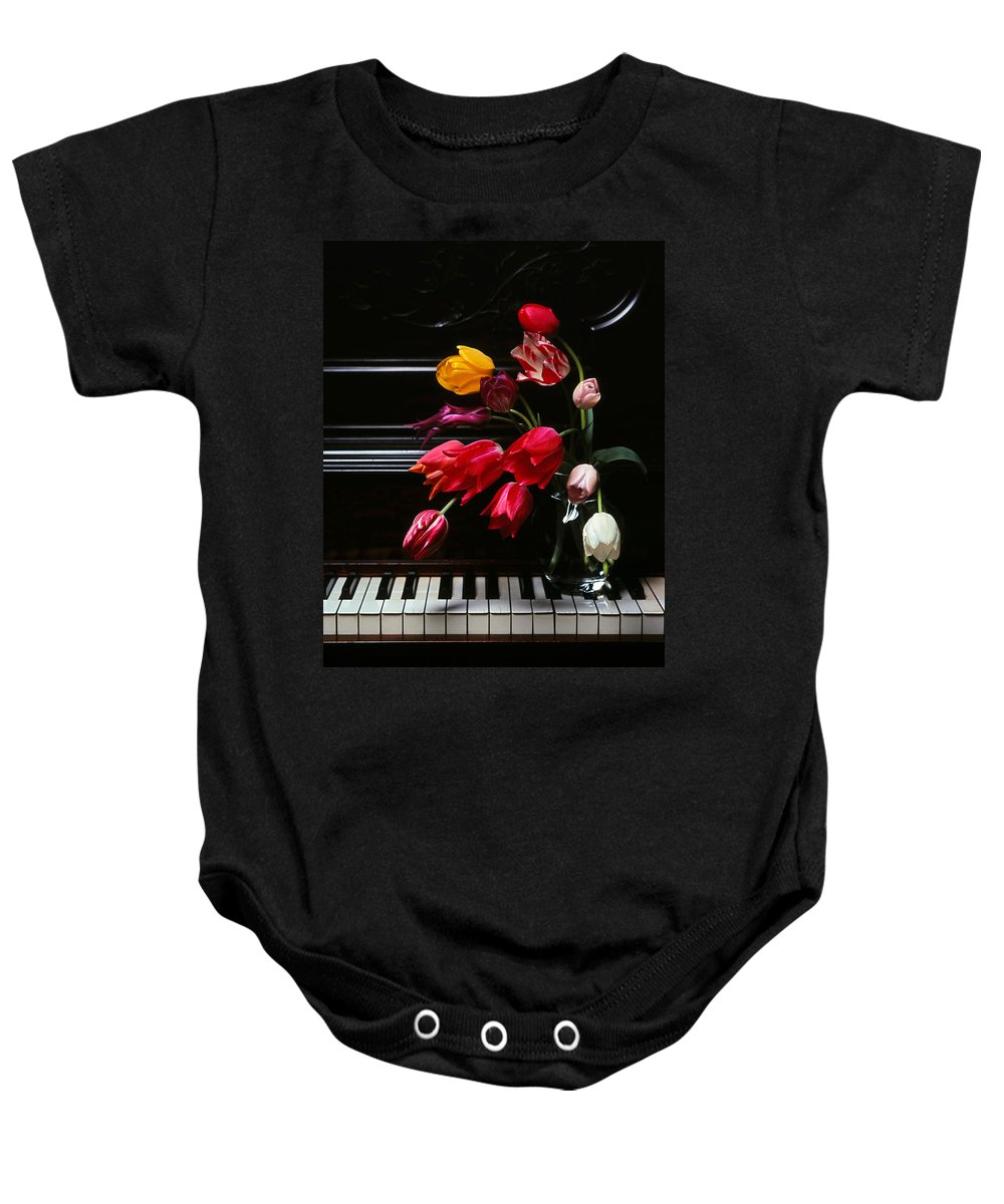Piano Baby Onesie featuring the photograph Piano by Photophilous