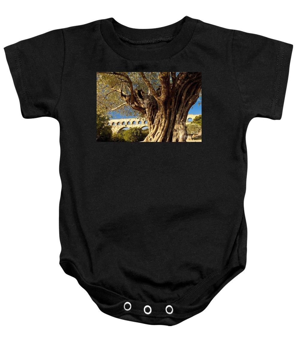 Pont Du Gard Baby Onesie featuring the photograph Pont Du Gard by Brian Jannsen