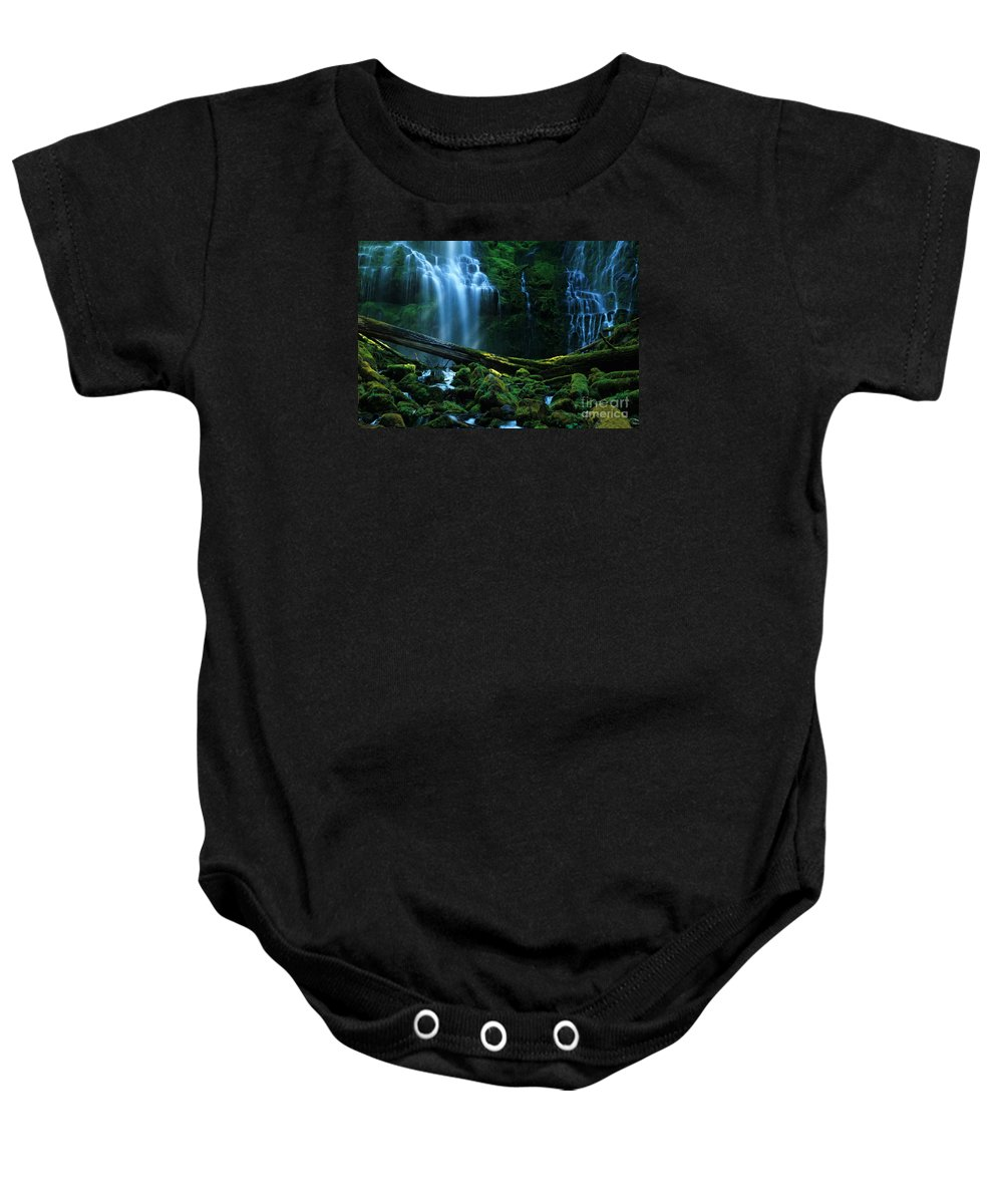 Proxy Falls Baby Onesie featuring the photograph Proxy Falls Oregon by Bob Christopher