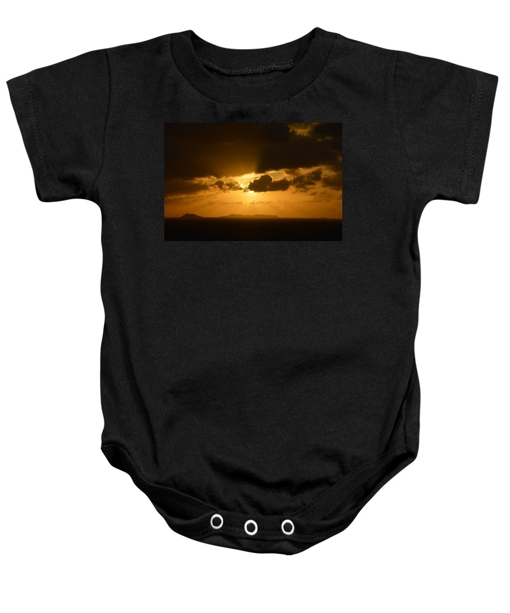 Sunset Baby Onesie featuring the photograph Sunset In The Caribbean by Richard Booth