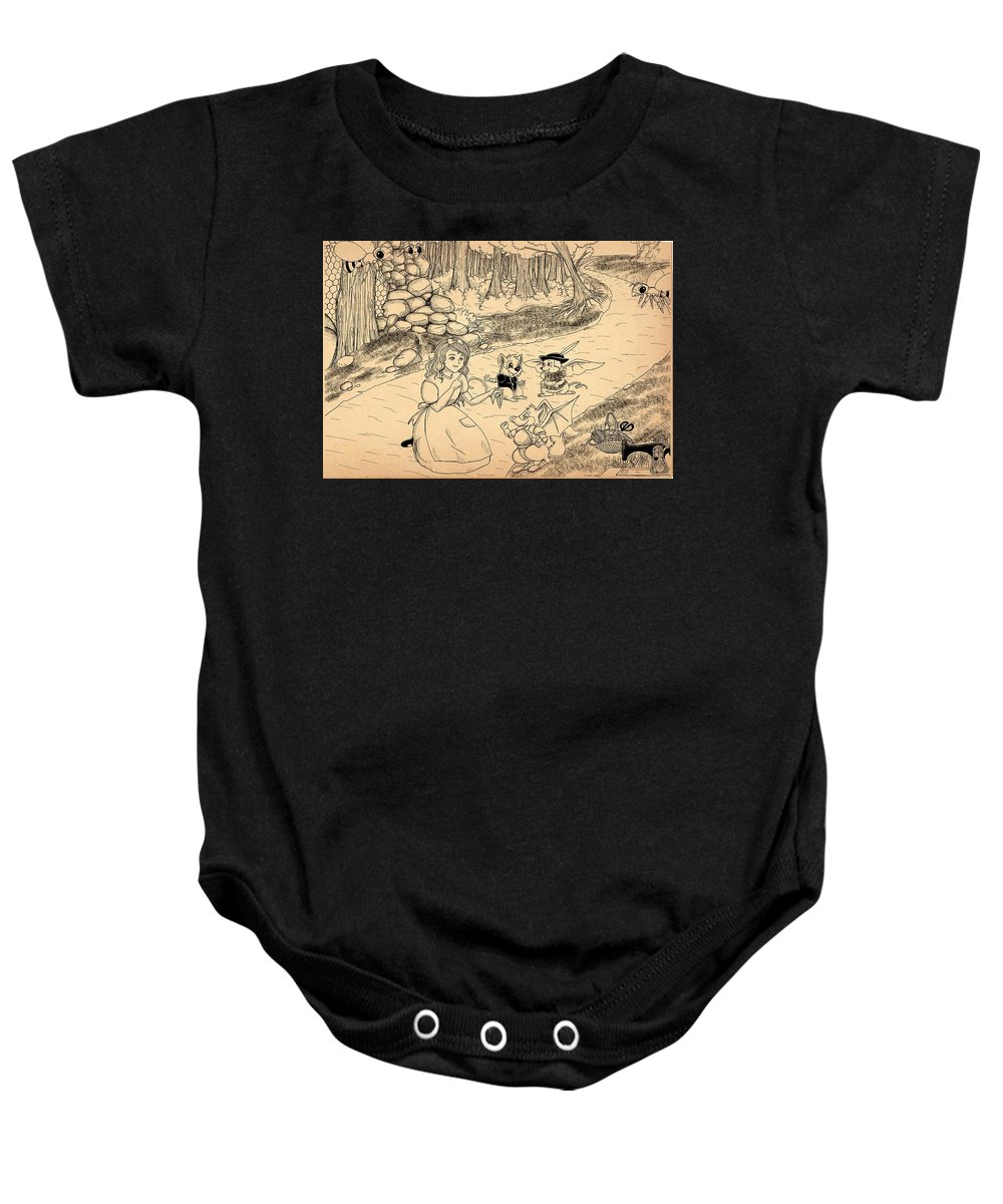 Wurtherington Baby Onesie featuring the drawing Tammy Meets Cedric The Mongoose by Reynold Jay