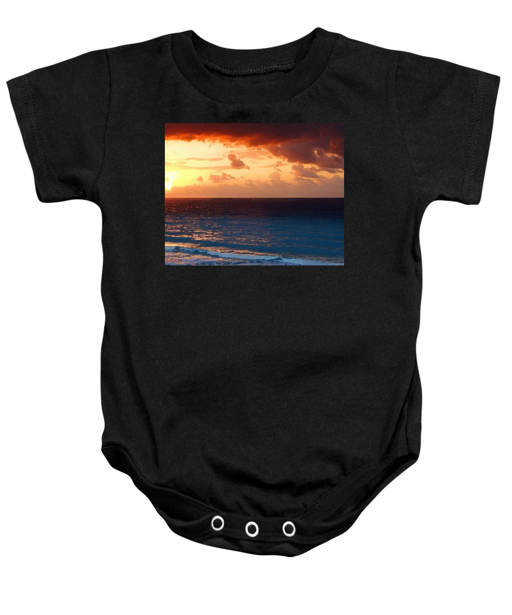 Tequila Sunrise Baby Onesie featuring the painting Tequila Sunrise by Ellen Henneke