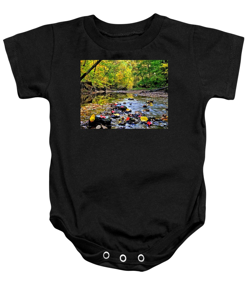 Autumn Baby Onesie featuring the photograph Babbling Brook by Frozen in Time Fine Art Photography