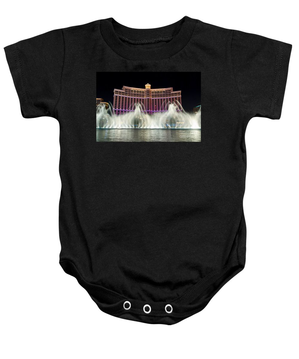 Bellagio Baby Onesie featuring the photograph Bellagio Hotel And Casino At Night by Jamie Pham