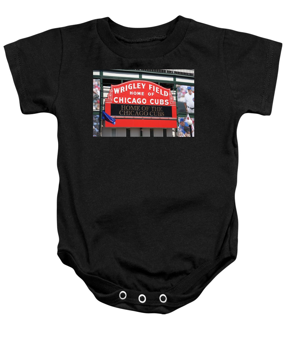 Addison Baby Onesie featuring the photograph Chicago Cubs - Wrigley Field by Frank Romeo