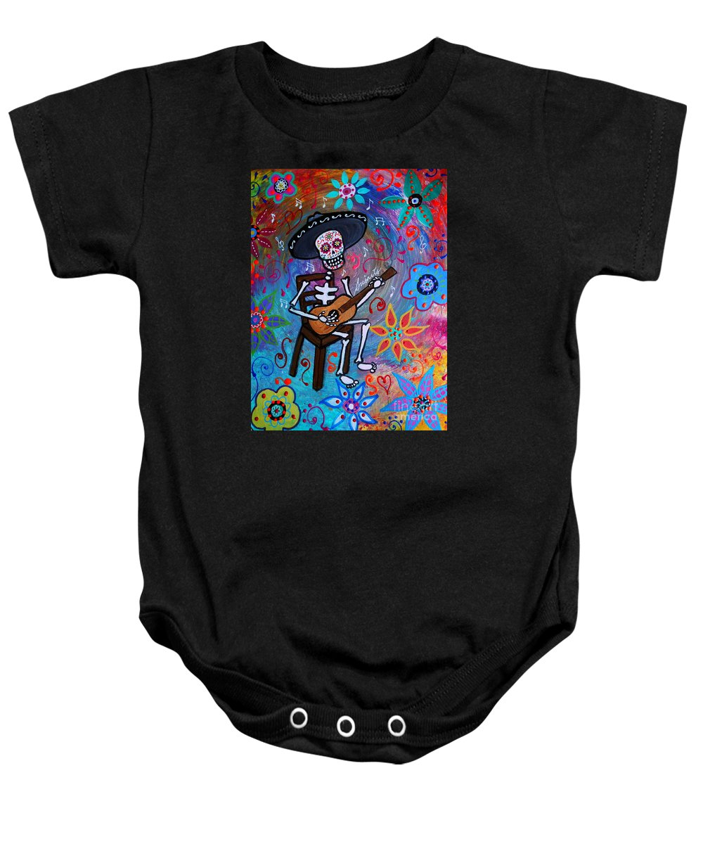 Dia De Los Muertos Baby Onesie featuring the painting Gitarero by Pristine Cartera Turkus