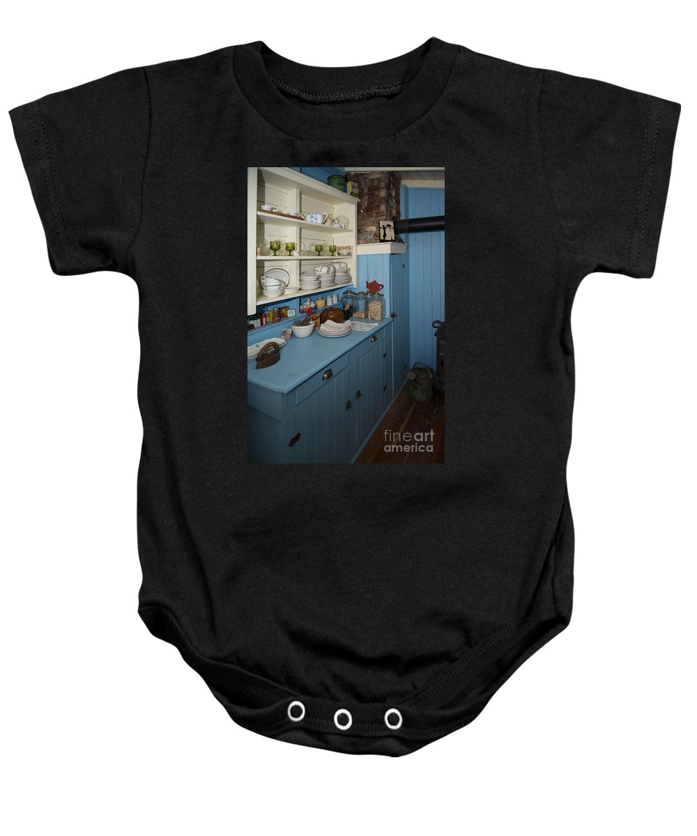Bowen Island Baby Onesie featuring the digital art Heritage Cottage Museum On Bowen Island by Carol Ailles