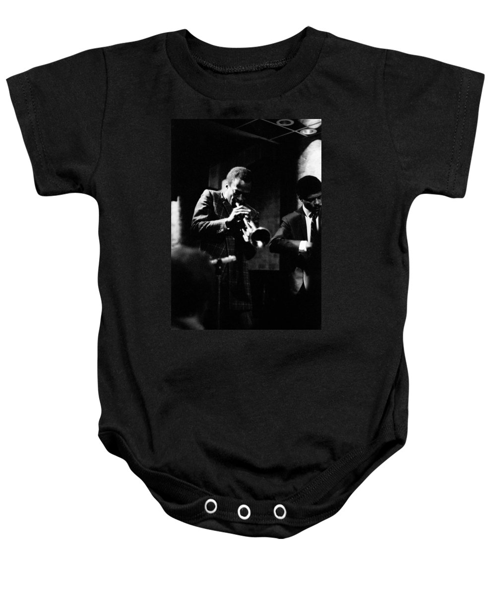 Jazz Baby Onesie featuring the photograph Miles Davis At The Penthouse by Dave Coleman