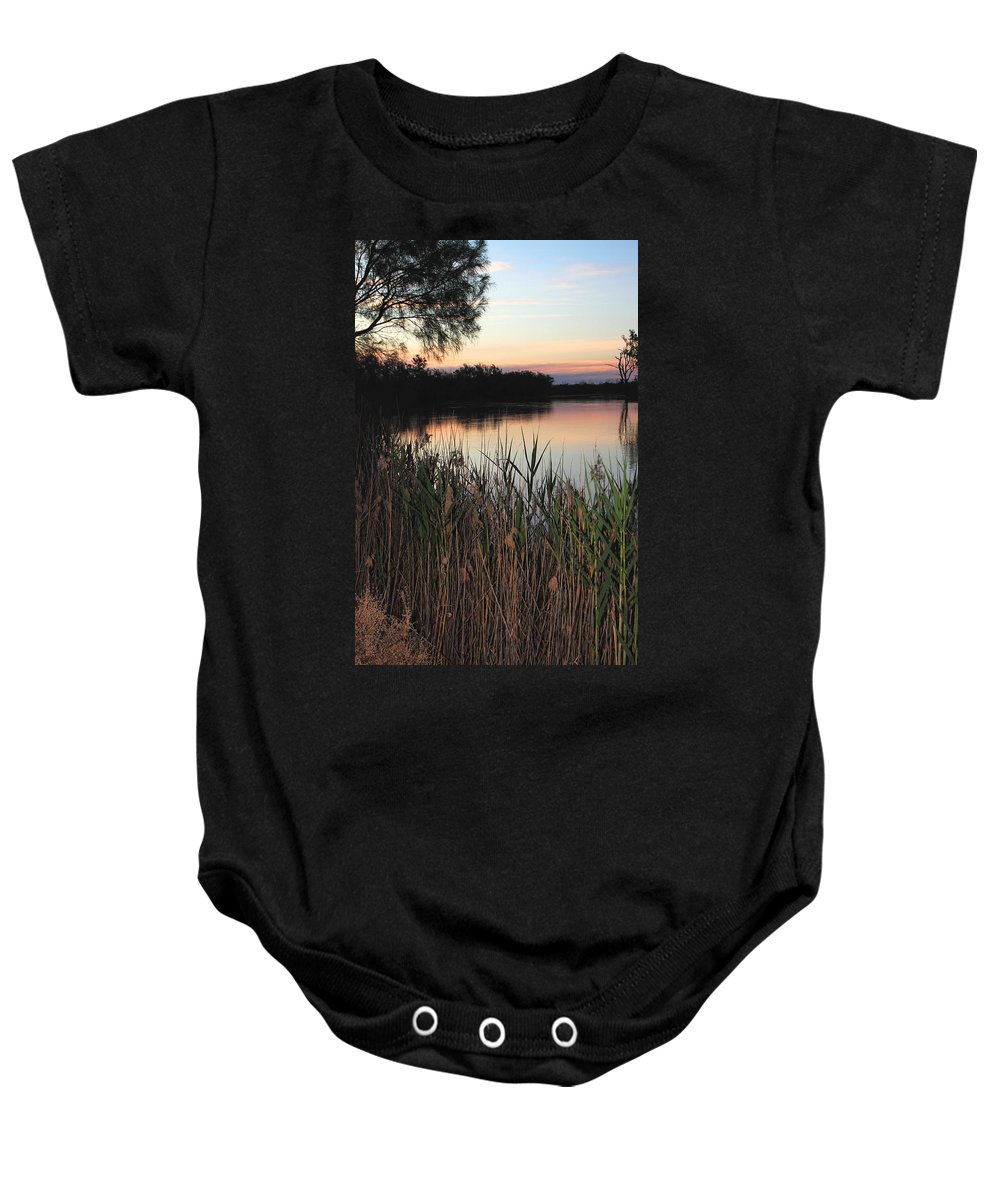 River Murray Sunset Baby Onesie featuring the photograph River Murray Sunset Series 1 by Carole-Anne Fooks