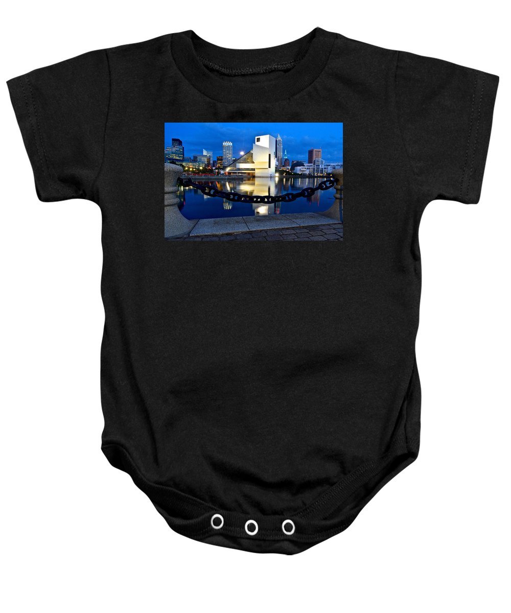 Rock Baby Onesie featuring the photograph Rock And Roll Hall Of Fame by Frozen in Time Fine Art Photography