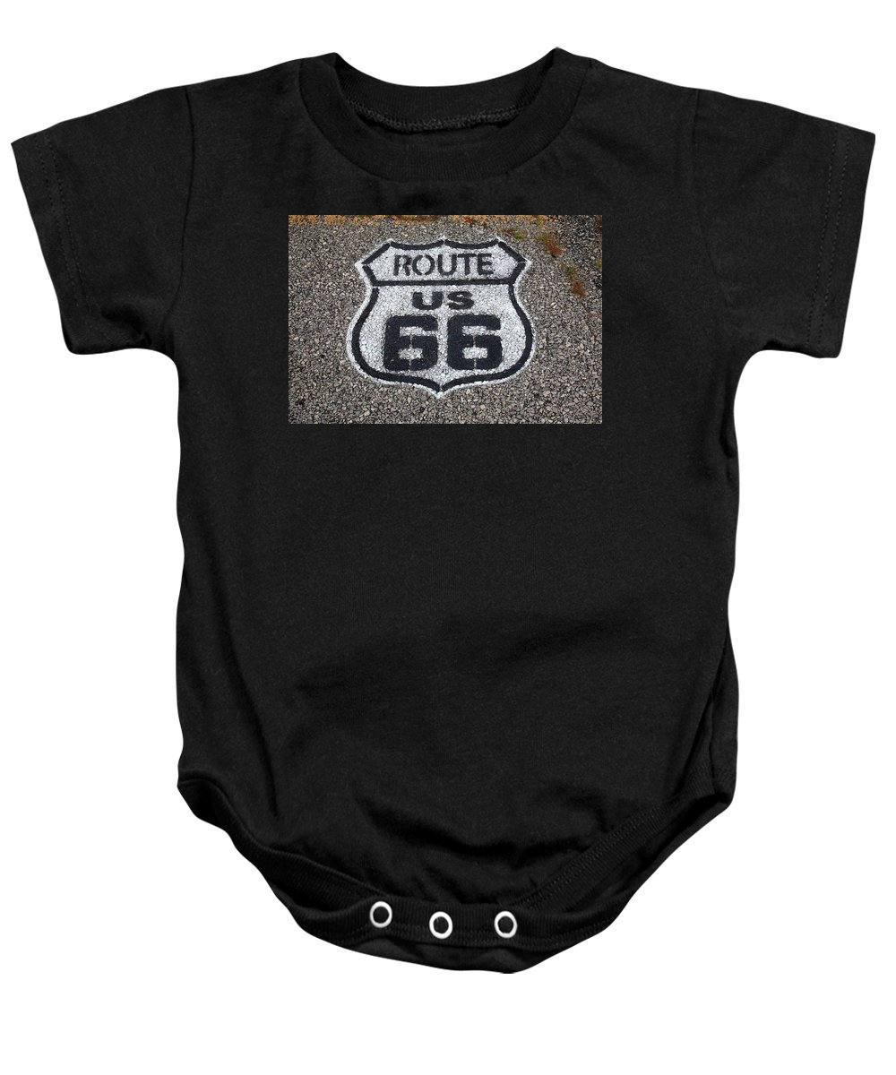 66 Baby Onesie featuring the photograph Route 66 Shield by Frank Romeo