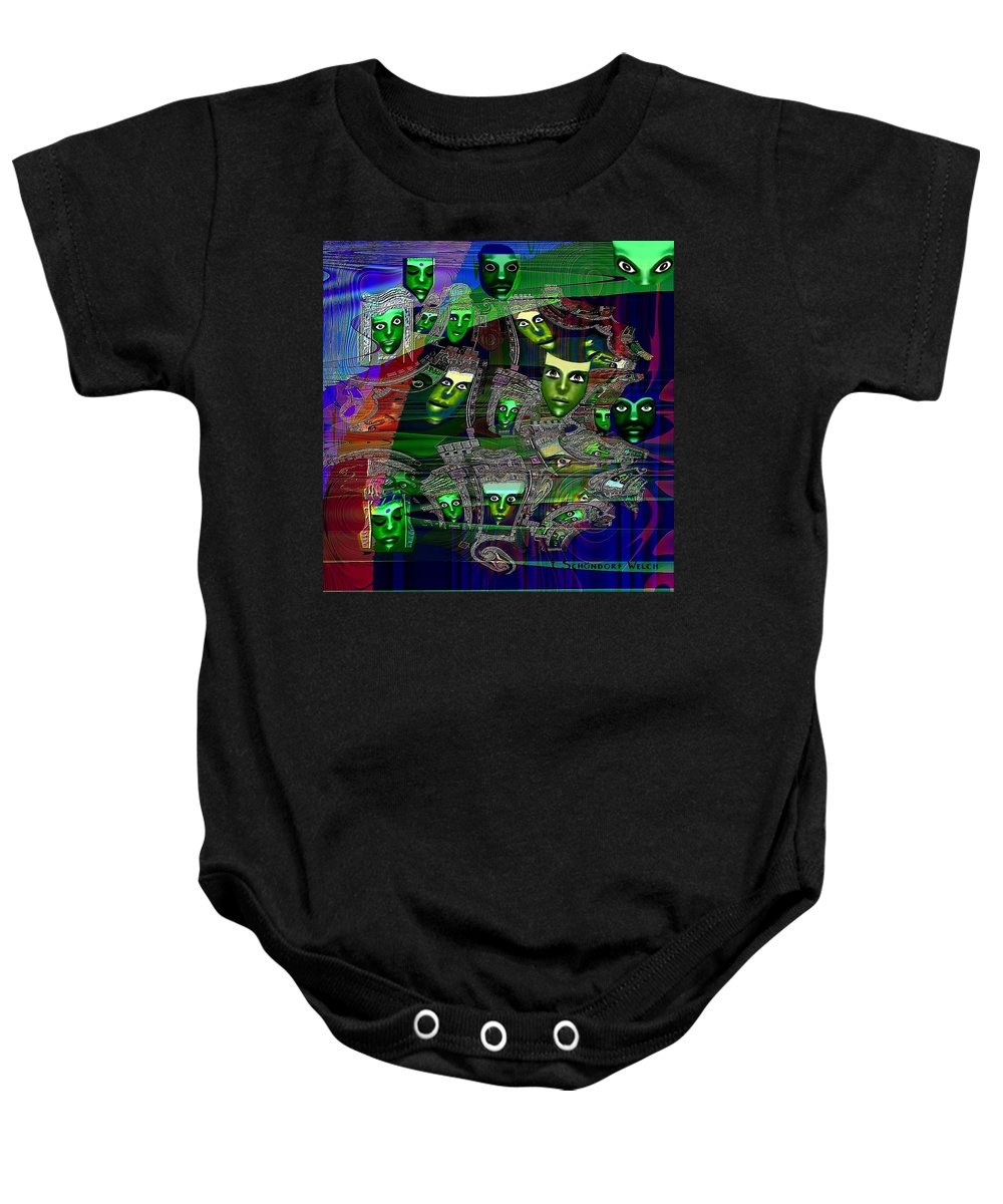 Surreal Baby Onesie featuring the painting 424 - Green Masks  by Irmgard Schoendorf Welch