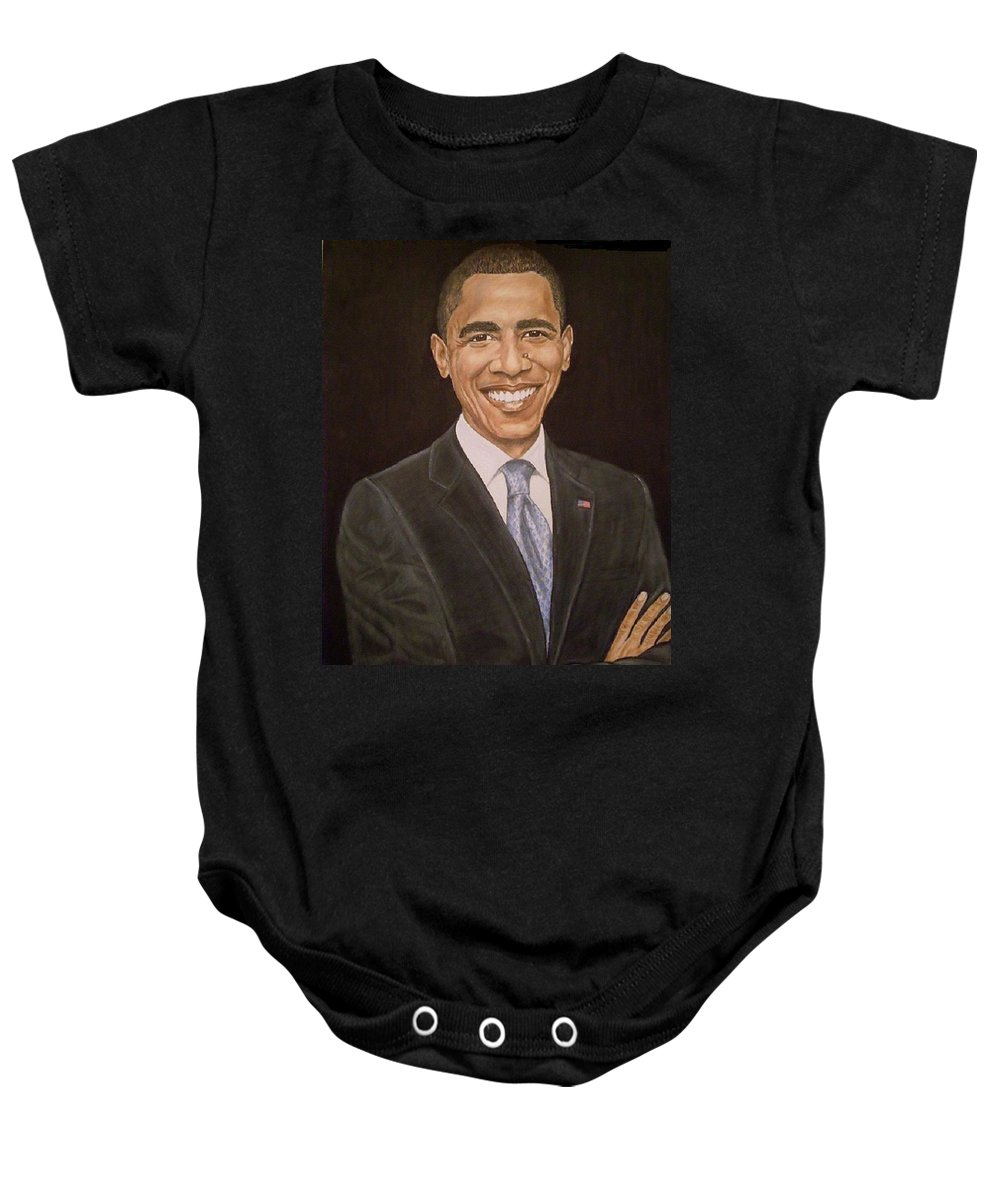Portrait Baby Onesie featuring the pastel 44th Though First by Arron Kirkwood