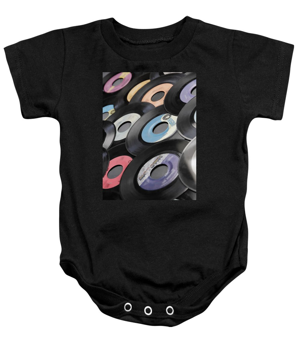 Records Baby Onesie featuring the photograph 45 Records Nostalgia by Athena Mckinzie