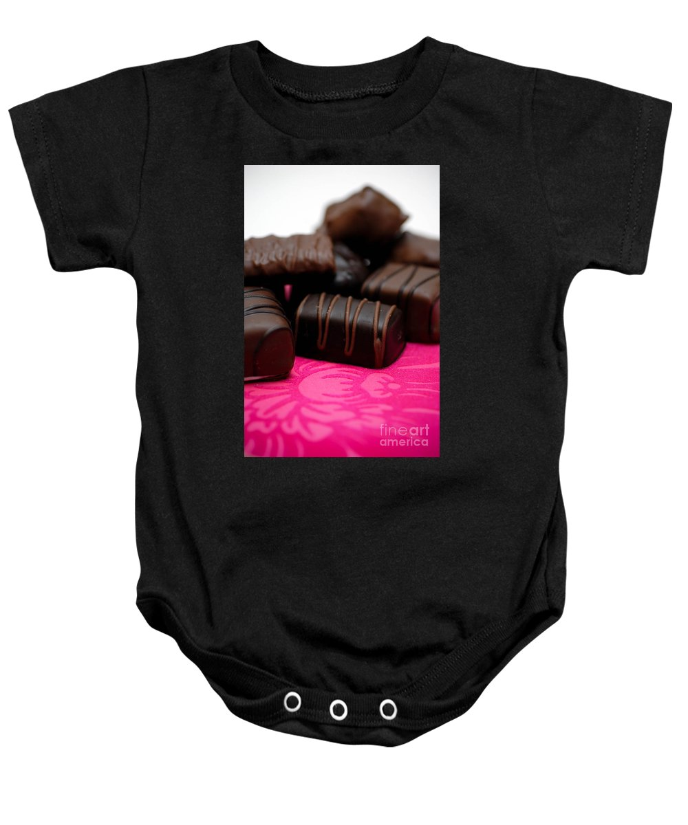 Be My Valentine Baby Onesie featuring the photograph Chocolate Candies by Amy Cicconi
