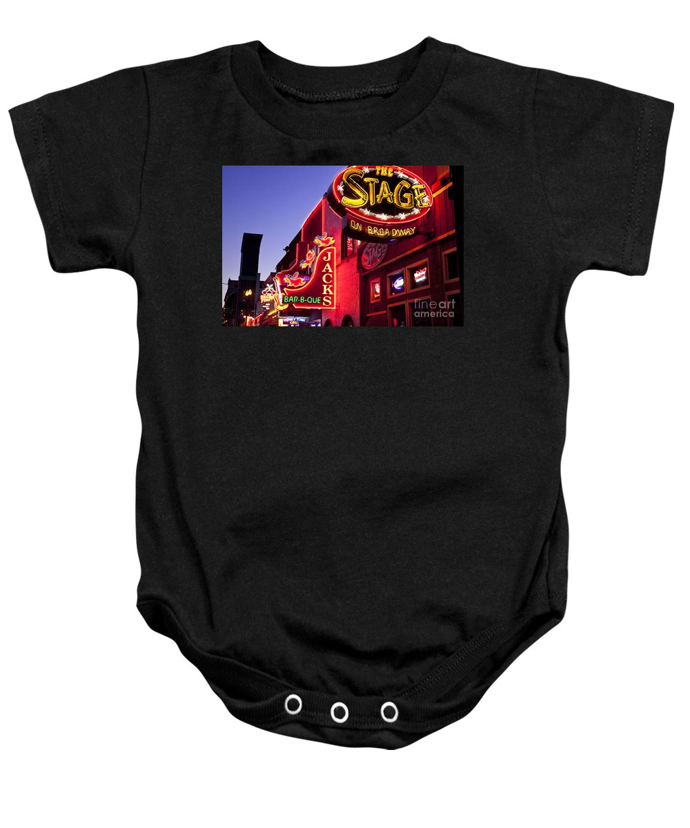 Neon Baby Onesie featuring the photograph Music City Usa by Brian Jannsen