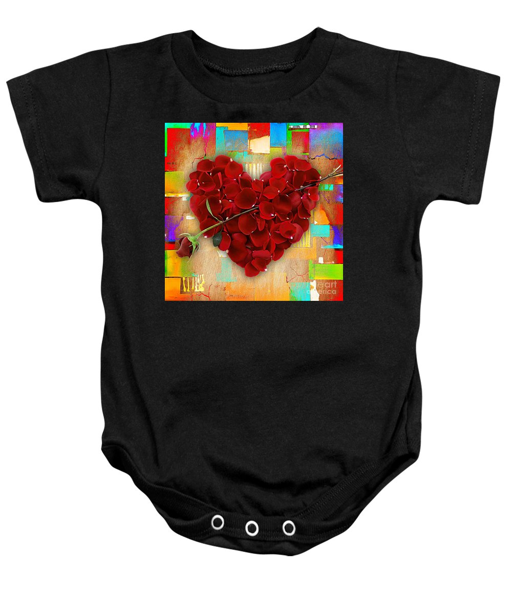 Rose Baby Onesie featuring the mixed media Roses Collection by Marvin Blaine