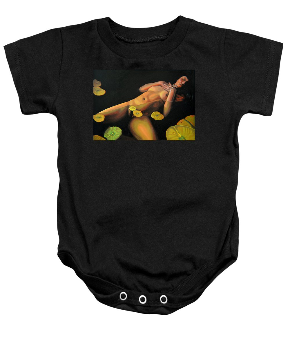Sexual Baby Onesie featuring the painting 6 30 A.m. by Thu Nguyen