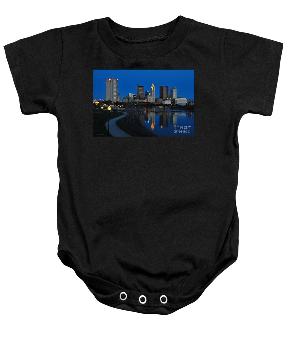 Columbus Baby Onesie featuring the photograph Columbus Ohio Skyline At Night by Ohio Stock Photography