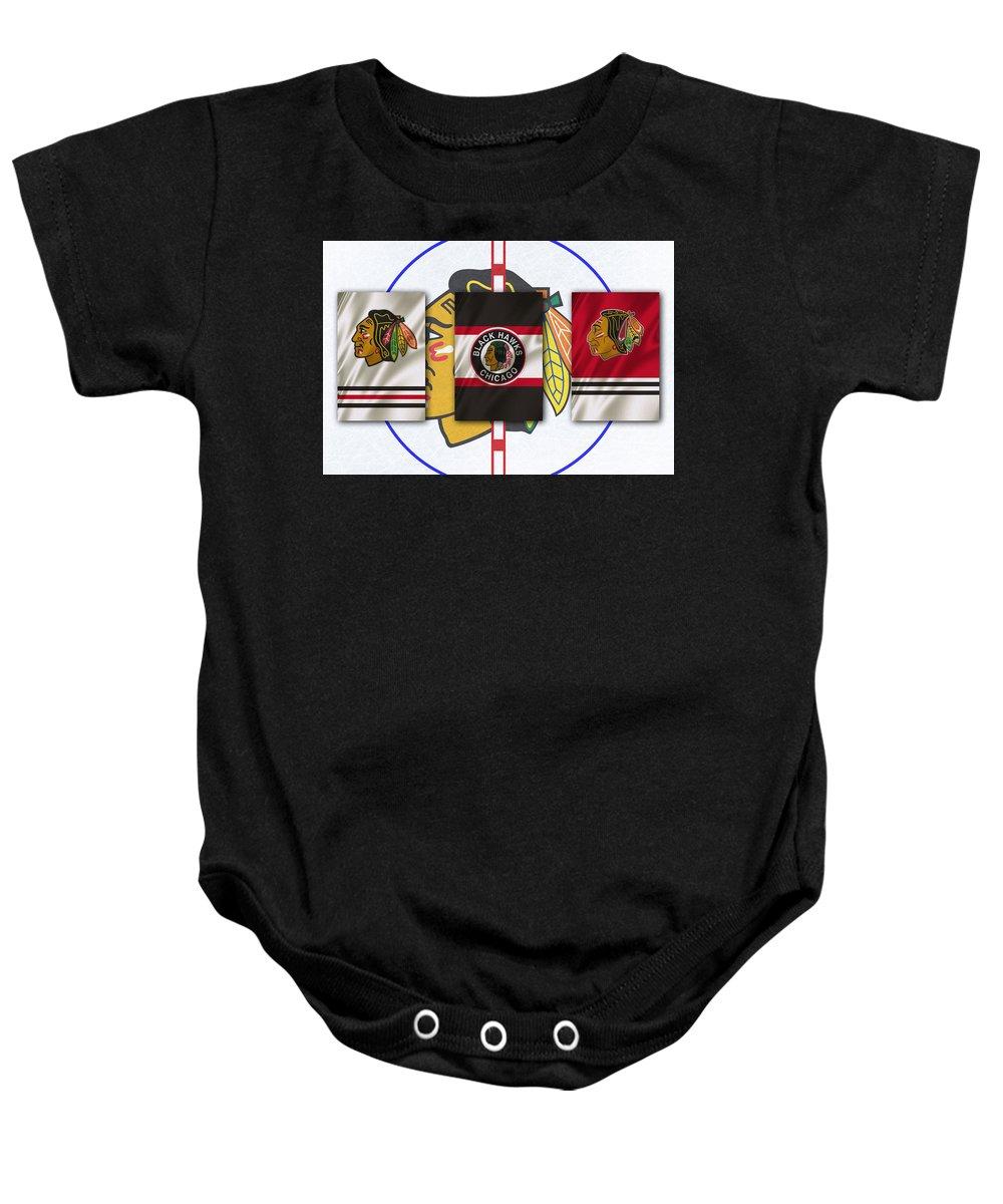 Blackhawks Baby Onesie featuring the photograph Chicago Blackhawks by Joe Hamilton