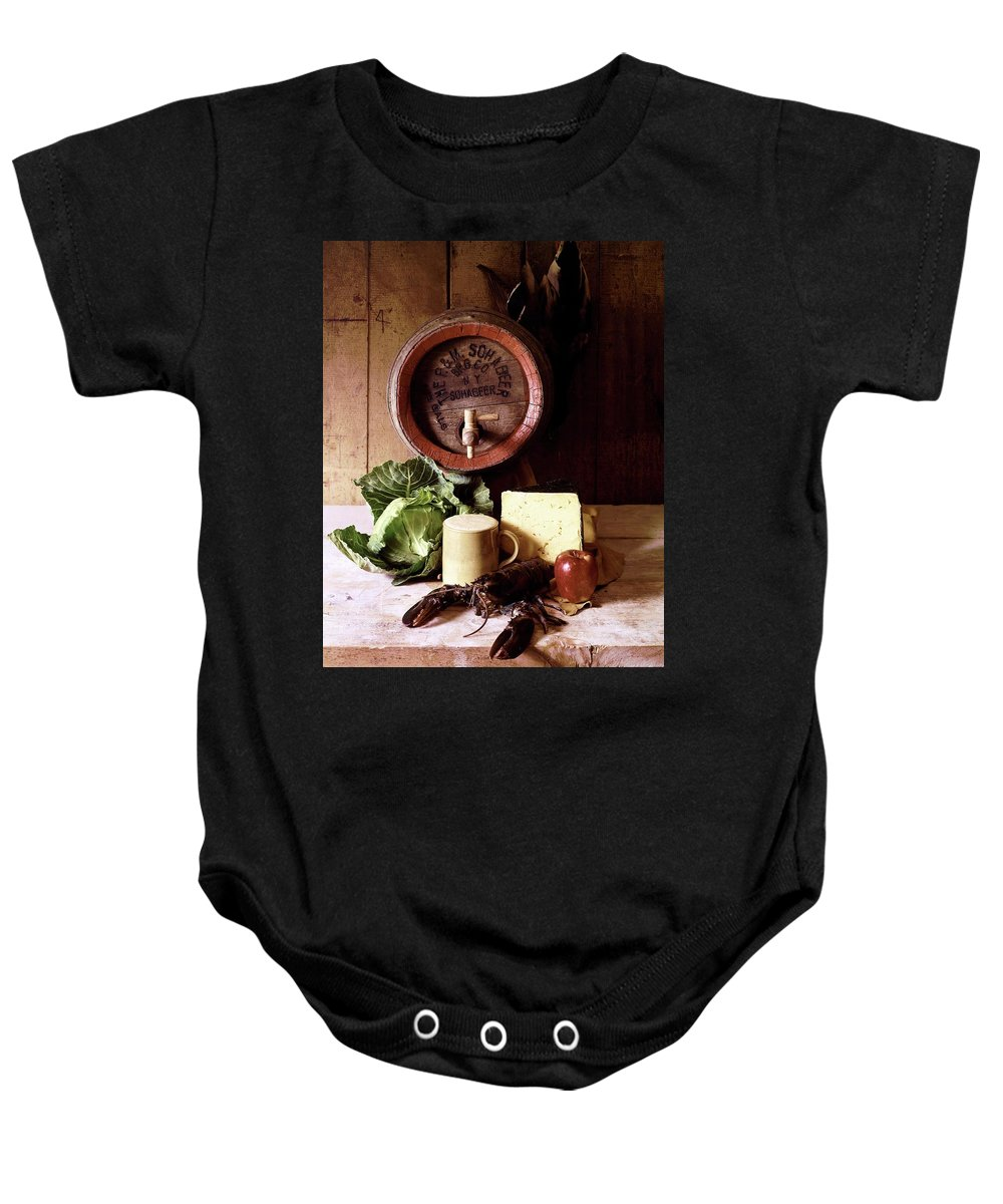 Nobody Baby Onesie featuring the photograph A Barrel Of Beer by N. Courtney Owen