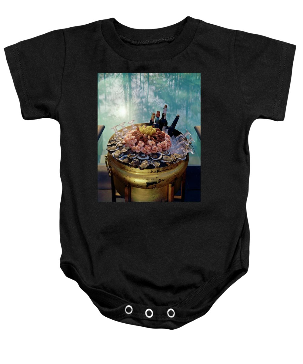 Nobody Baby Onesie featuring the photograph A Bucket Of Shrimp by Ernst Beadle
