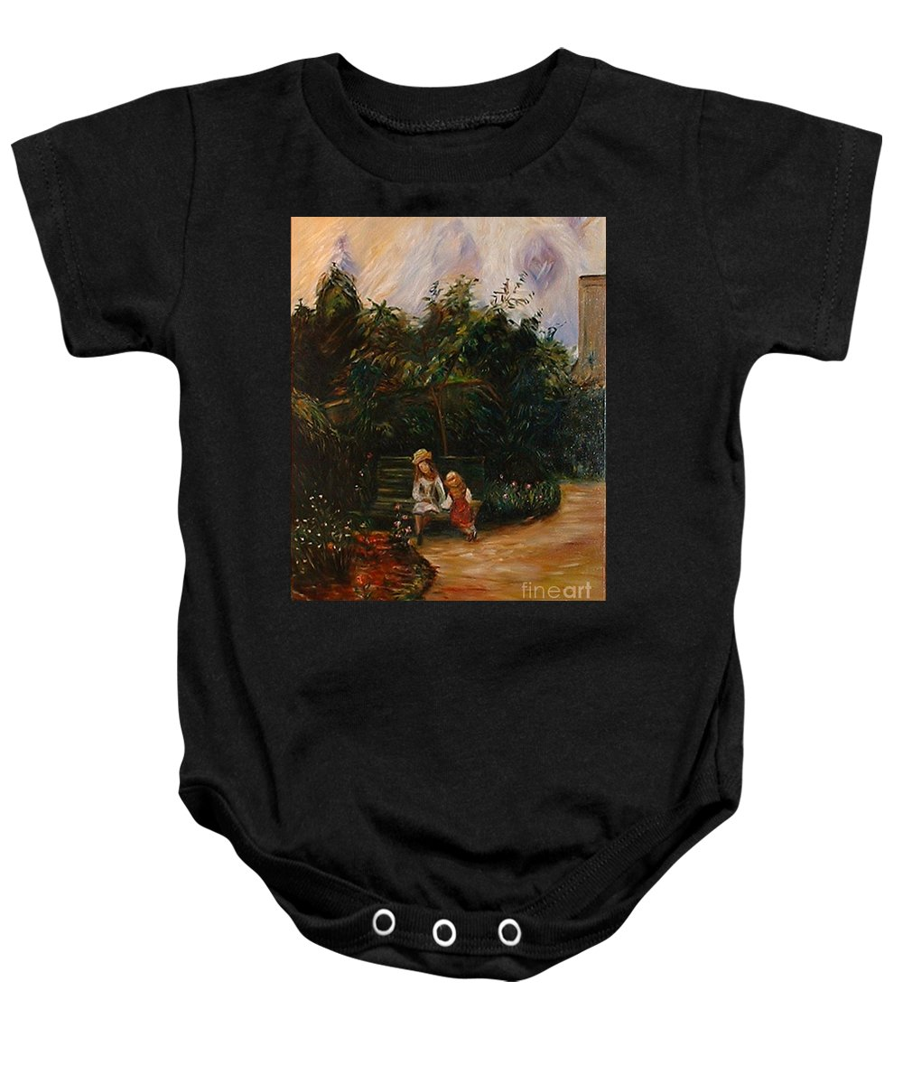 Classic Art Baby Onesie featuring the painting A Corner Of The Garden At The Hermitage by Silvana Abel
