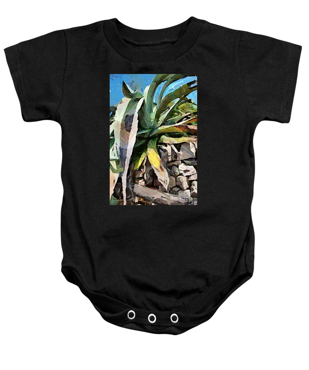 Weathering Agava Baby Onesie featuring the painting A Dry Agava by Dragica Micki Fortuna