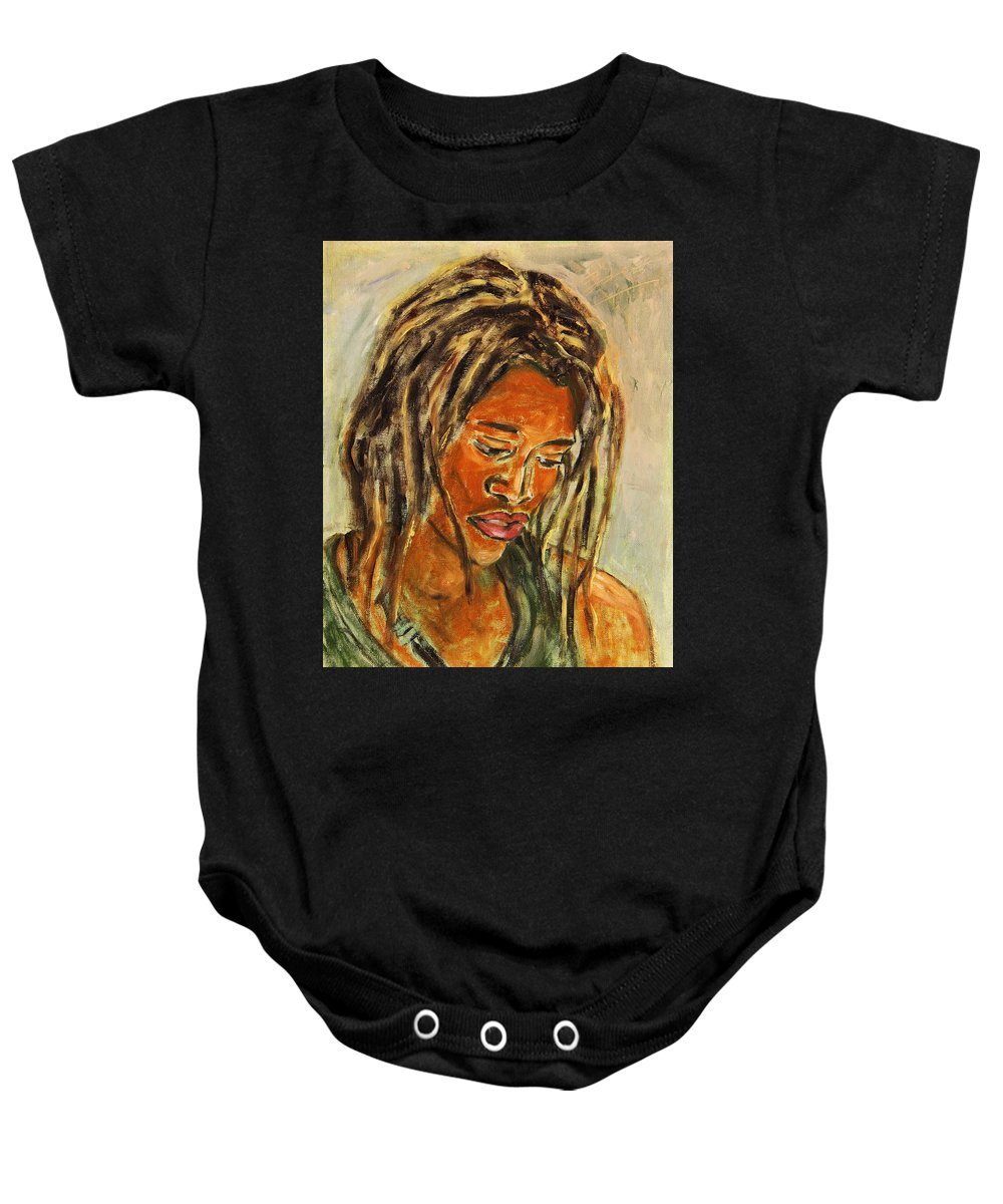 Portrait Baby Onesie featuring the painting A Female Sax Player by Xueling Zou