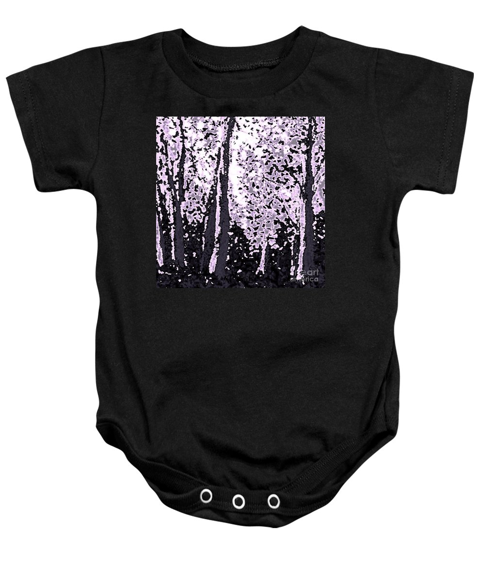 Woods Baby Onesie featuring the painting A Forest Silhouette by Hazel Holland