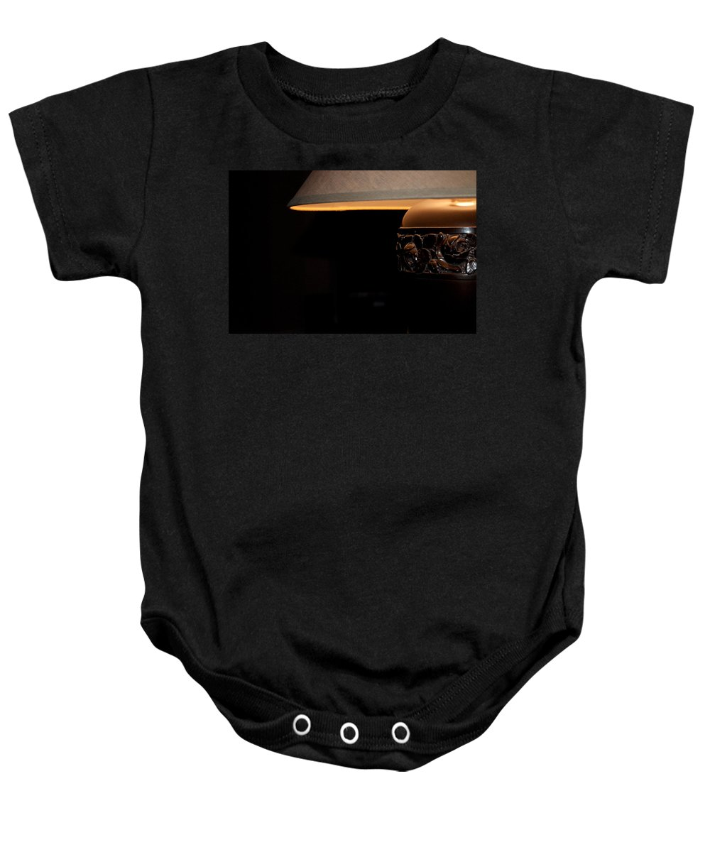 Fine Baby Onesie featuring the photograph A Good Book A Glass Of Wine by Paulette B Wright