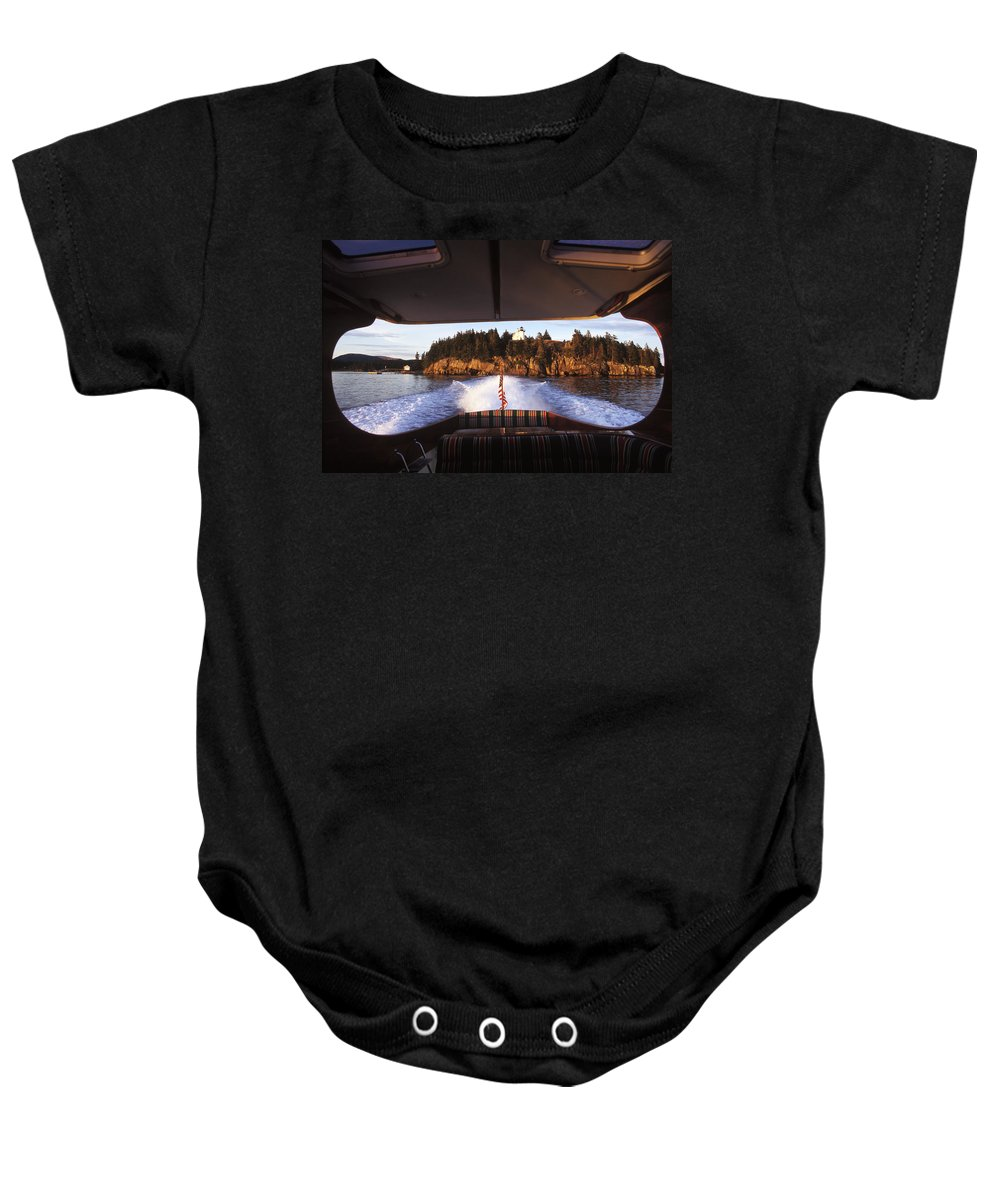 Afternoon Baby Onesie featuring the photograph A Hinckley Picnic Boat Travels by David McLain