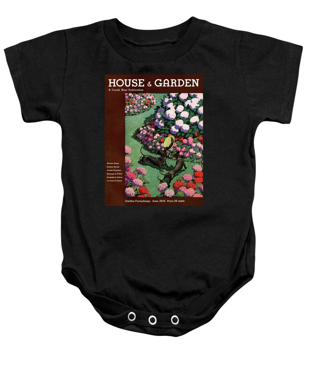Illustration Baby Onesie featuring the photograph A House And Garden Cover Of Dachshunds With A Hat by Pierre Brissaud