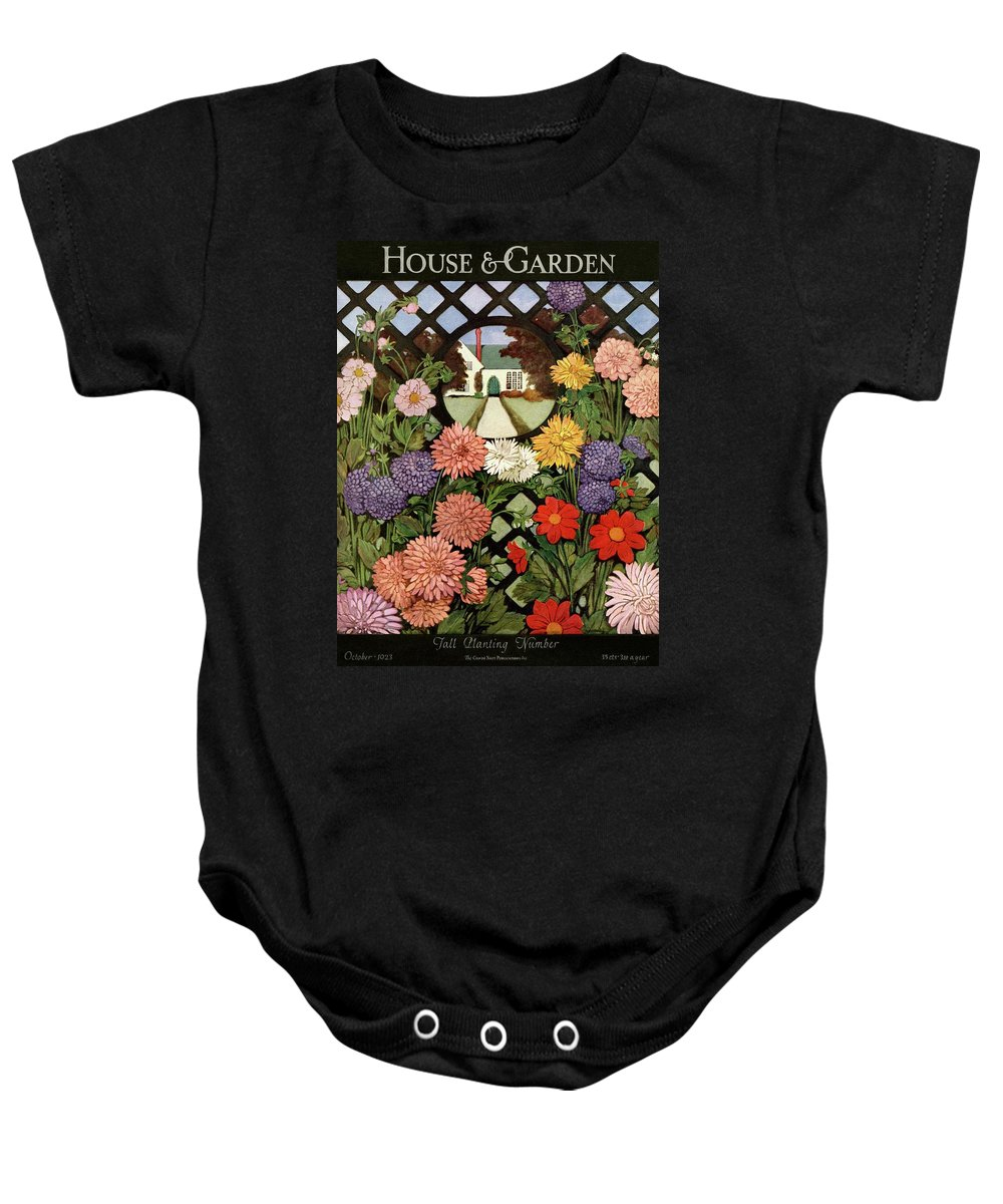 Illustration Baby Onesie featuring the photograph A House And Garden Cover Of Flowers by Ethel Franklin Betts Baines
