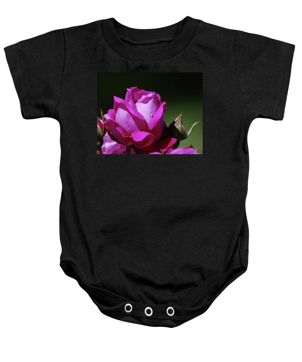 Blue Rose Baby Onesie featuring the photograph A Light Blue Rose by Jeff Swan