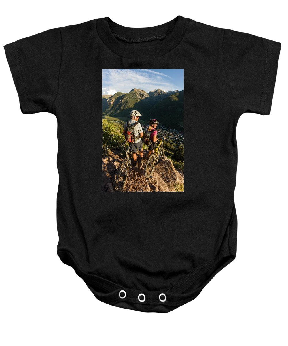 25-29 Years Baby Onesie featuring the photograph A Man And A Woman Looking At The View by Whit Richardson