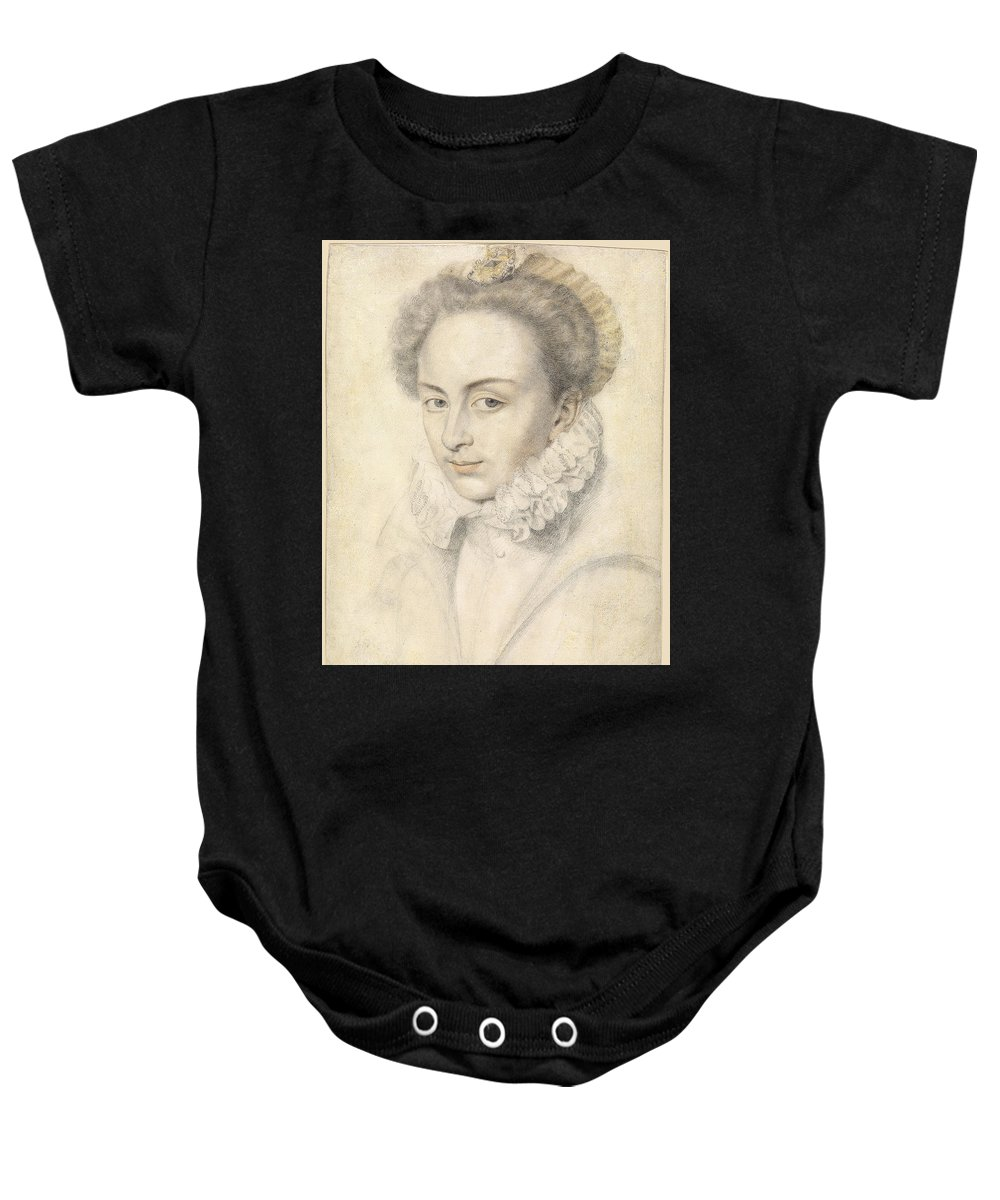 Daniel Dumonstier Baby Onesie featuring the drawing A Portrait Of A Young Woman In A Ruffled Collar by Daniel Dumonstier