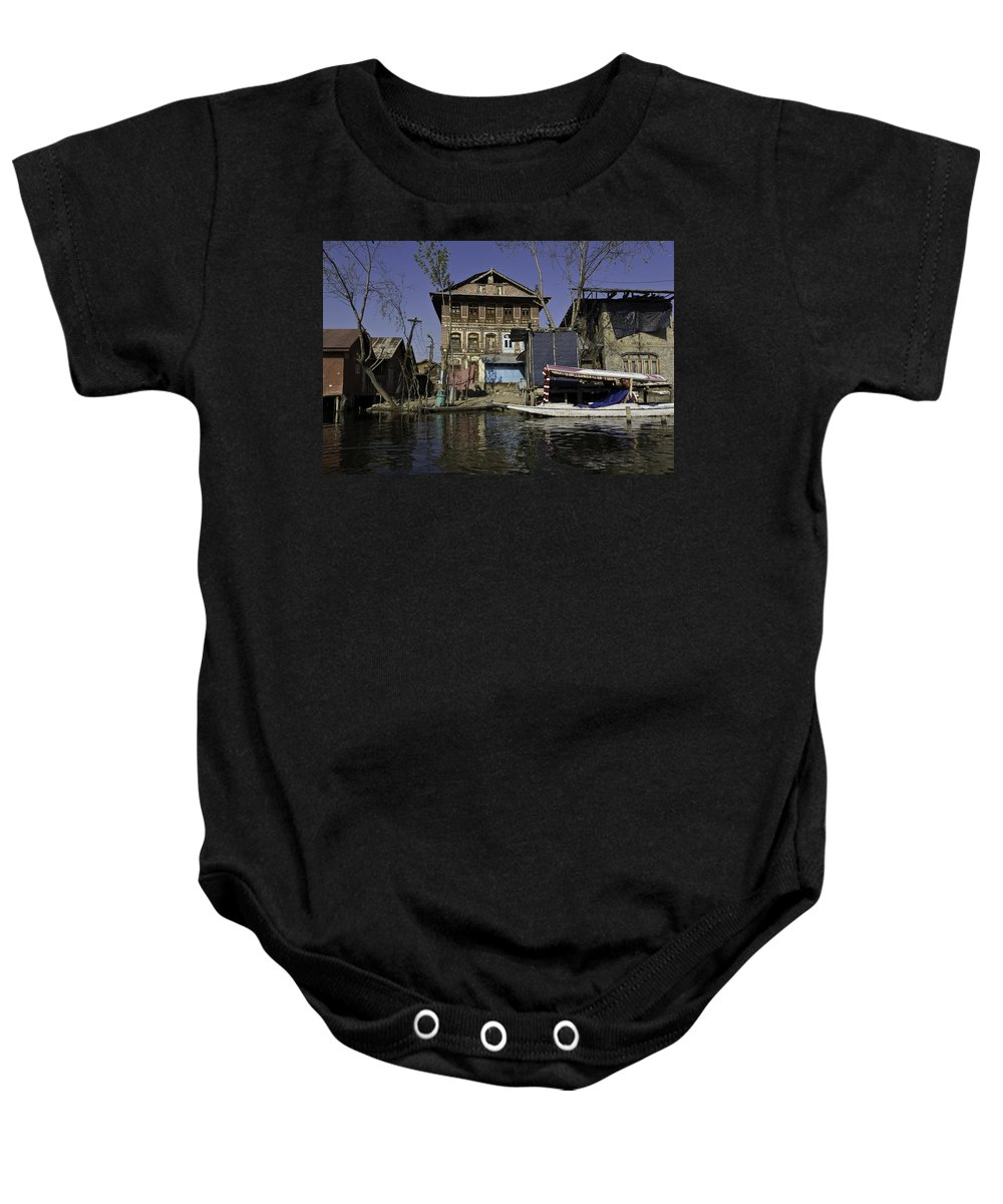 Action Baby Onesie featuring the photograph A Slightly More Run Down Section Of The Dal Lake by Ashish Agarwal