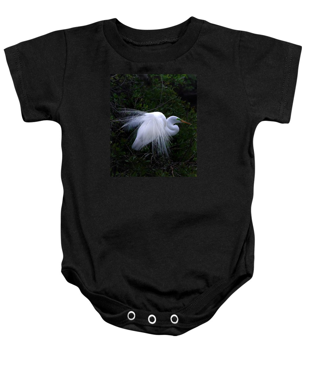 Egret Baby Onesie featuring the photograph A Stand Out by Skip Willits