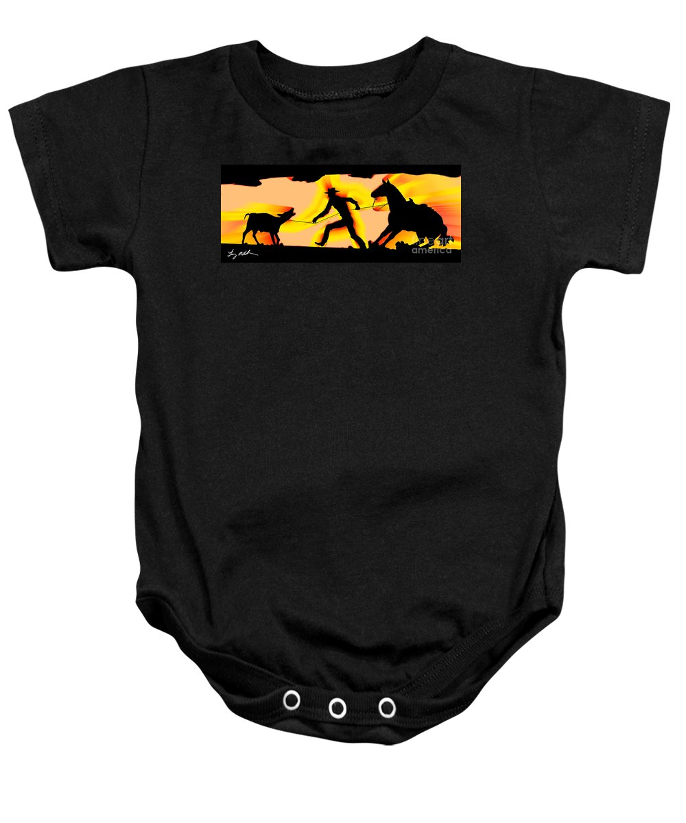 Cowboy Baby Onesie featuring the digital art A Taste Of Arizona by Tommy Anderson