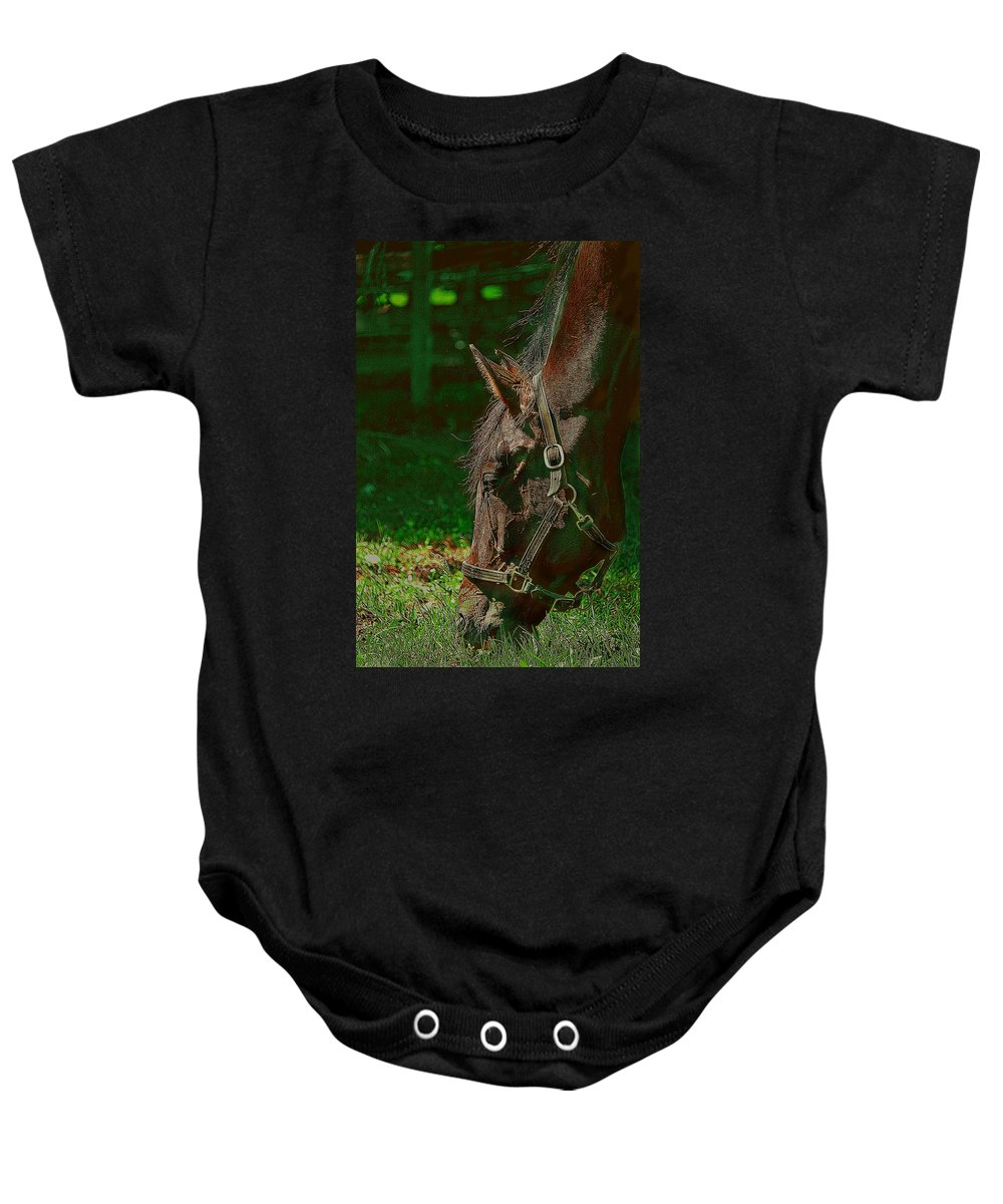 Animal Baby Onesie featuring the digital art A Time To Eat by Davandra Cribbie