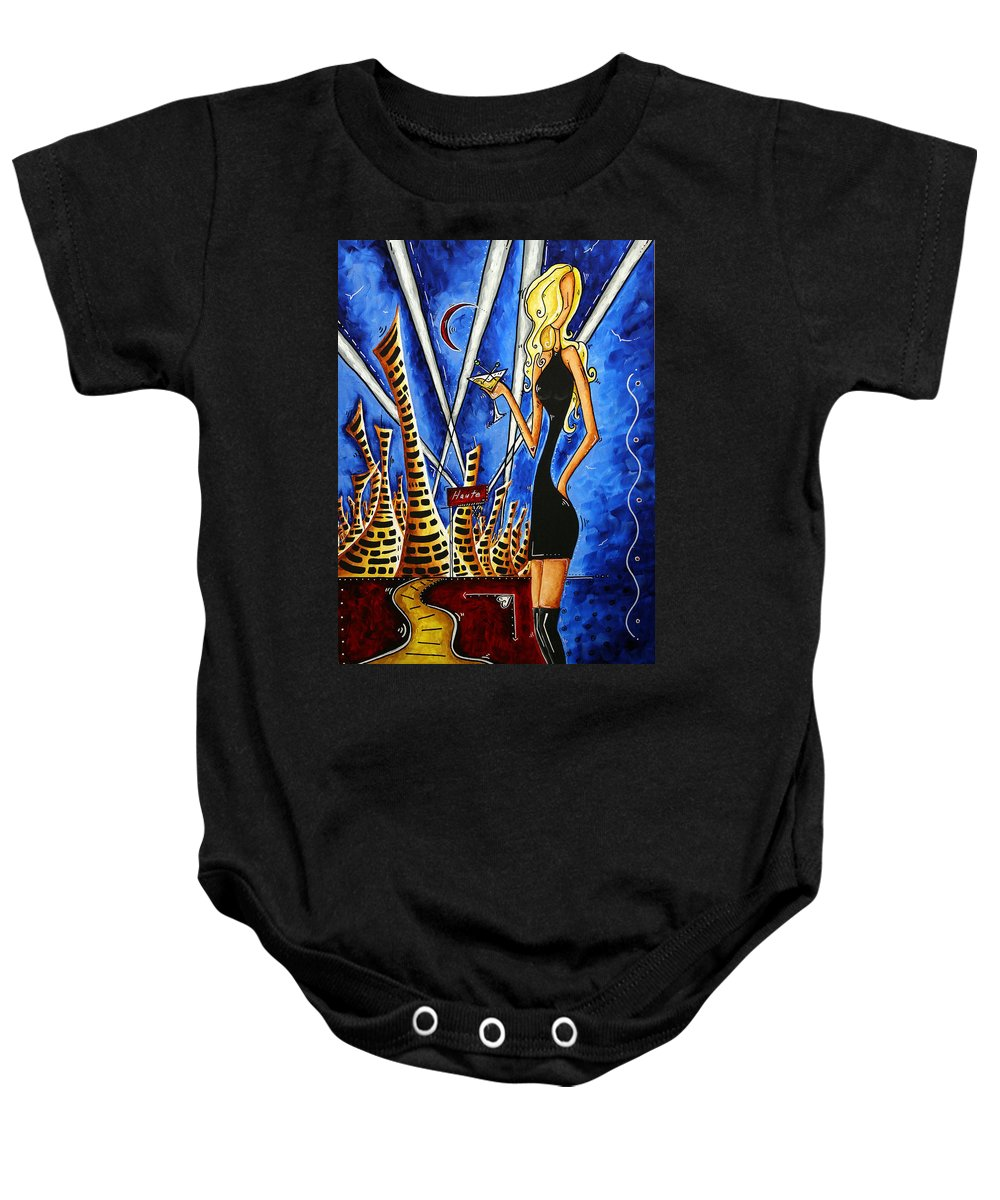 Art Baby Onesie featuring the painting A Toast To The Little Black Dress By Madart by Megan Duncanson