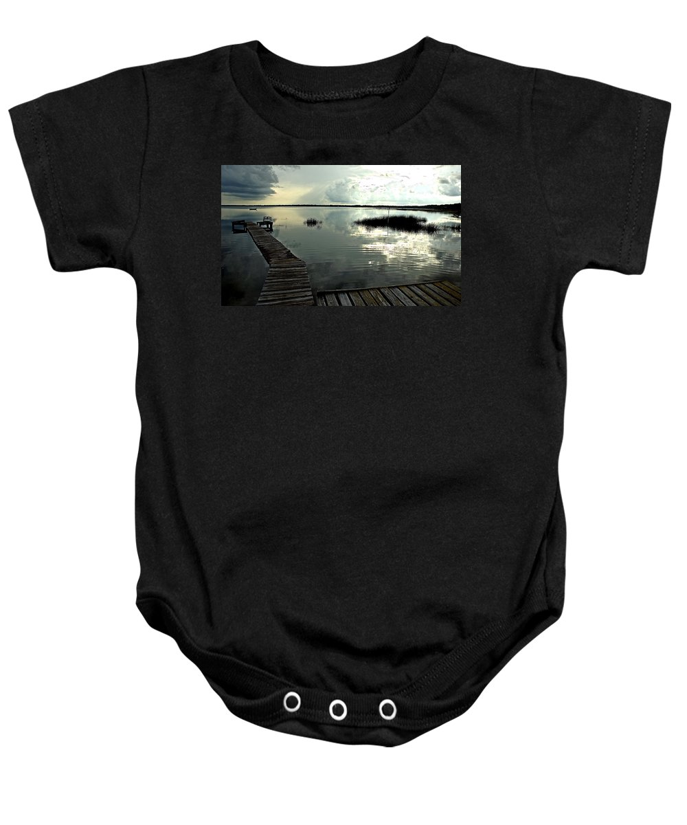 Seascape Baby Onesie featuring the photograph A Walk Into The Closing Day by Norman Johnson