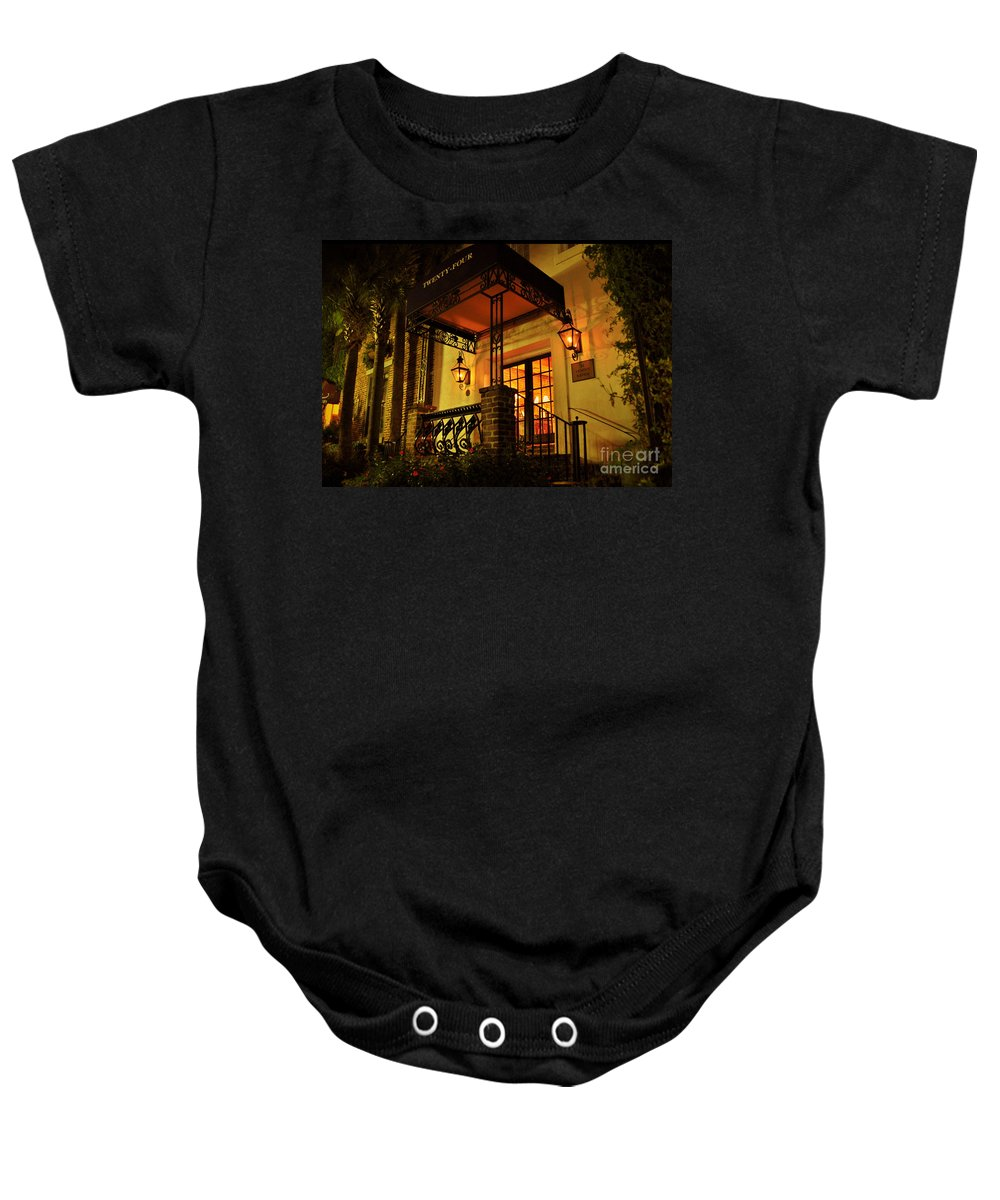 Charleston Baby Onesie featuring the photograph A Warm Summer Night In Charleston by Kathy Baccari