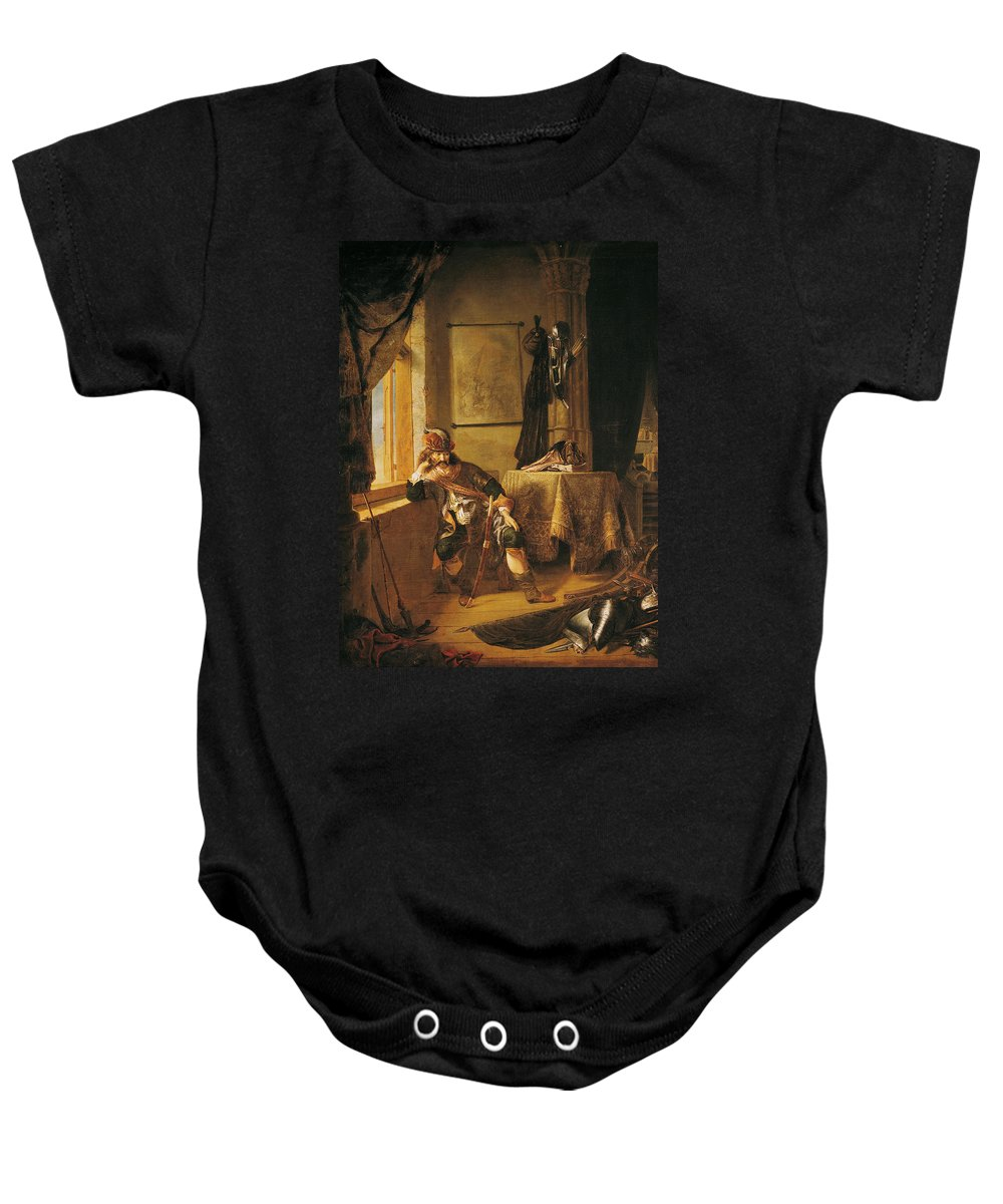 Guerrier Meditant Baby Onesie featuring the photograph A Warrior In Thought Oil On Canvas by Rembrandt Harmensz. van Rijn